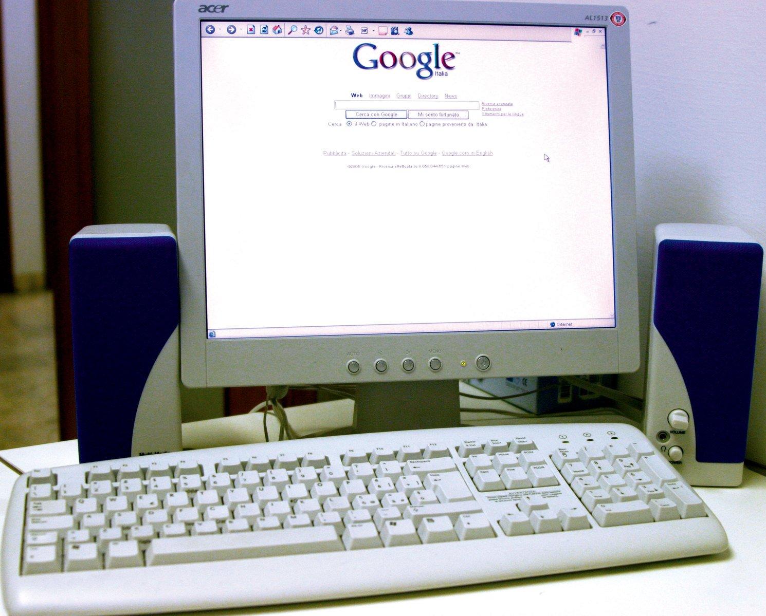 Google, počítač, retro